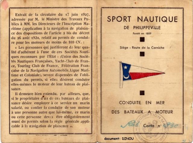 Sport Naurique de Philippeville permis de conduire les bateaux à moteurs