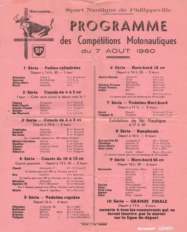 Sport Naurique de Philippeville programme des compétitions